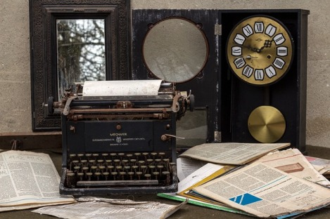 clock and typewriter