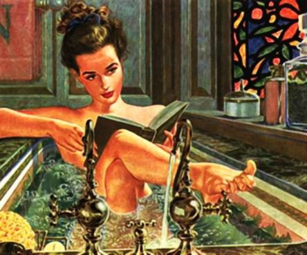 bathing girl with book